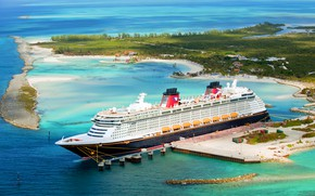 Обои Dream, Пассажирский, Остров, Disney Dream, Причал, Судно, Пассажирский лайнер, Disney Cruise Line, Море, Disney, Лайнер