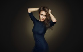 Обои Настя, платье, Nastya, Dmitry Arhar, фон, взгляд