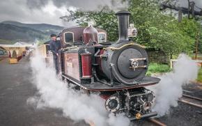 Картинка ретро, паровоз, техника, пар, железная дорога