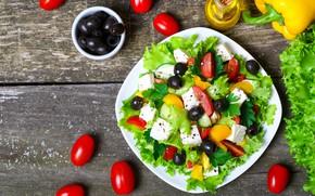 Картинка листья, масло, сыр, тарелка, перец, помидоры, оливки, салат