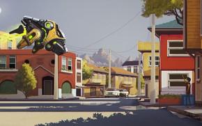 Картинка город, здания, автомобили, аппарат, Parallel 80s Afternoon