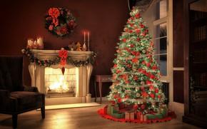 Картинка украшения, игрушки, елка, Новый Год, Рождество, подарки, камин, Christmas, design, Merry Christmas, Xmas, interior, home, ...
