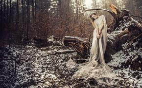 Обои лес, девушка, снег, поза, ситуация, платье, коряга, VOODOO Wonderland