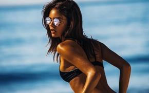 Картинка Girl, Sexy, Beach, Sunglasses, Sensual