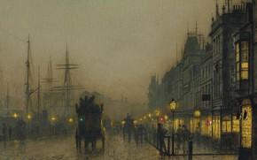Картинка ночь, огни, картина, городской пейзаж, Джон Эткинсон Гримшоу, John Atkinson Grimshaw, Reekie. Glasgow