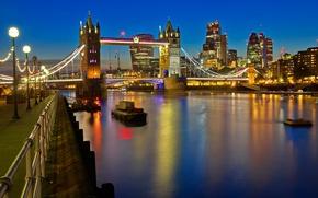 Картинка ночь, огни, река, Англия, Лондон, Темза, Тауэрский мост