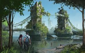 Картинка фэнтези, тауэрский мост, пост апокалипсис, иные времена