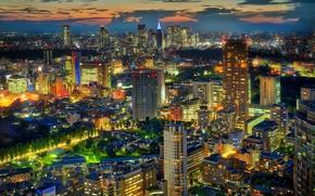 Обои огни, дома, вечер, Япония, Токио, мегаполис