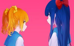 Картинка аниме, Девочки, Pop team epic, Розовый фон