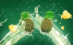 Обои брызги, сок, ананас, всплеск