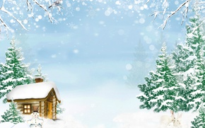 Картинка зима, ели, кролики, домик, снеговик