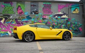 Картинка желтый, дизайн, граффити, Corvette Chevrolet