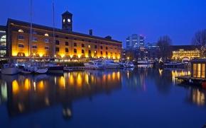 Картинка вода, ночь, огни, Англия, Лондон, доки Санта-Катарина