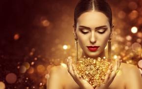 Картинка стиль, макияж, прическа, gold, model, luxury, makeup, jewellery, Inara Prusakova