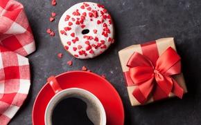 Картинка подарок, кофе, сердечки, love, пончик, coffee