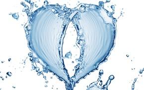 Картинка вода, узор, сердце, белый фон