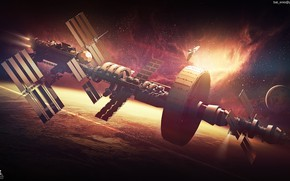 Картинка планета, звёзды, Spaceship concept