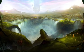 Картинка водопад, Sergey Lesiuk, Сергей Лесюк, впадина, new world