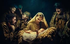 Обои девушка, оружие, солдаты, ребёнок, Рождение новой жизни