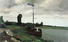 Картинка пейзаж, картина, Камиль Писсарро, Берега Реки. Понтуаз