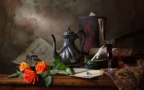 Картинка стиль, исскуство, Still life with teapot and roses, Натюрморт с чайником и розами