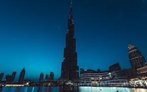 Картинка город, башня, вечер, Дубай