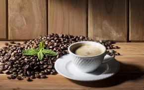 Картинка кофе, чашка, напиток, мята, кофейные зерна, wood, cup, drink, coffee, mint, coffee beans