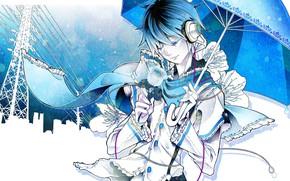 Картинка роза, зонт, парень, Vocaloid, Вокалоид, Кайто