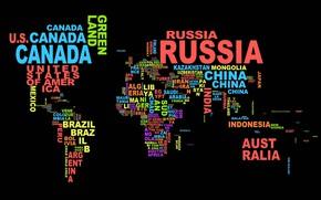 Обои мир, название, слово, абстракция, буквы, карта