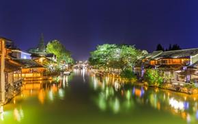 Картинка Дома, Огни, Ночь, Деревья, Река, Китай
