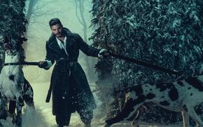Картинка зима, лес, собаки, снег, деревья, актер, пальто, фотосессия, Jamie Dornan, 2016, Джейми Дорнан, Norman Jean …