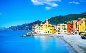 Обои море, пляж, берег, Италия, церковь, Italy, travel, Camogli, Liguria, basilica