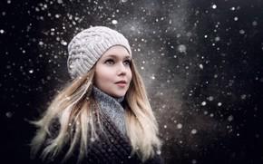 Картинка зима, взгляд, девушка, снег, девочка, Sergey Piltnik