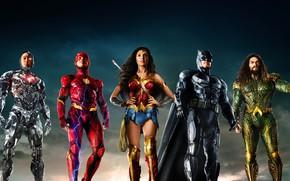 Обои Gal Gadot, постер, The Flash, Batman, Рэй Фишер, Wonder Woman, комикс, Бен Аффлек, Aquaman, Cyborg, ...