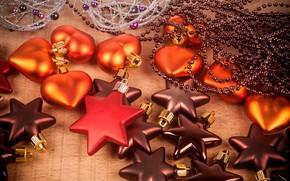 Картинка украшения, игрушки, сердечки, Новый год, звёздочки