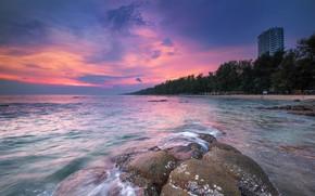 Картинка море, волны, пляж, лето, небо, закат, камни, берег, summer, beach, sky, sea, sunset, pink, seascape, ...