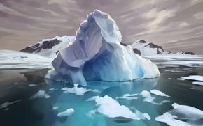 Обои арктика, айсберг, арт, лед, остров, вода, красота
