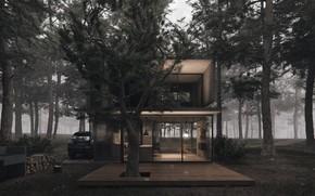 Картинка лес, дрова, автомобиль, H3 house, строение, дизайн