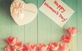 Картинка праздник, подарок, надпись, тюльпаны, 8 марта, Happy Women's Day