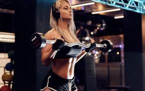 Обои sport, girl, headphones, model, blonde, fitness, gloves, gym, fitness model, dumbbells, Workout, short shorts, barbell, ...