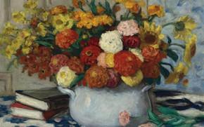 Картинка книги, картина, натюрморт, Ваза с Цветами, Элберт Андре, Albert Andre
