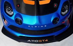 Картинка гоночное авто, вид спереди, 2018, Alpine, GT4, A110
