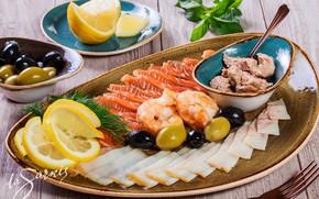 Картинка лимон, рыба, оливки, креветки, ассорти, печень трески