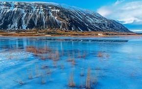 Картинка снег, горы, озеро, Исландия