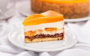 Картинка торт, манго, кусок, чизкейк