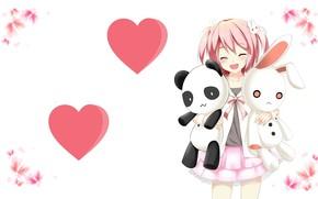 Картинка настроение, игрушки, аниме, арт, девочка, сердечки, зайчик. панда