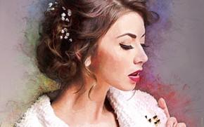 Картинка девушка, настроение, арт, прическа
