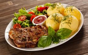 Картинка зелень, листья, стол, укроп, тарелка, мясо, овощи, помидоры, кетчуп, салат, специи, картофель