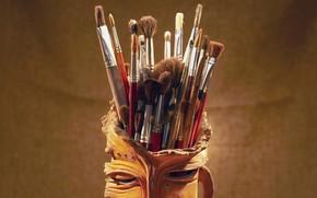 Обои фон, живопись, глиняная кружка, кисти, набор художника