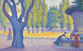 Картинка пейзаж, картина, Поль Синьяк, пуантилизм, Saint-Tropez. Fountain of Lices